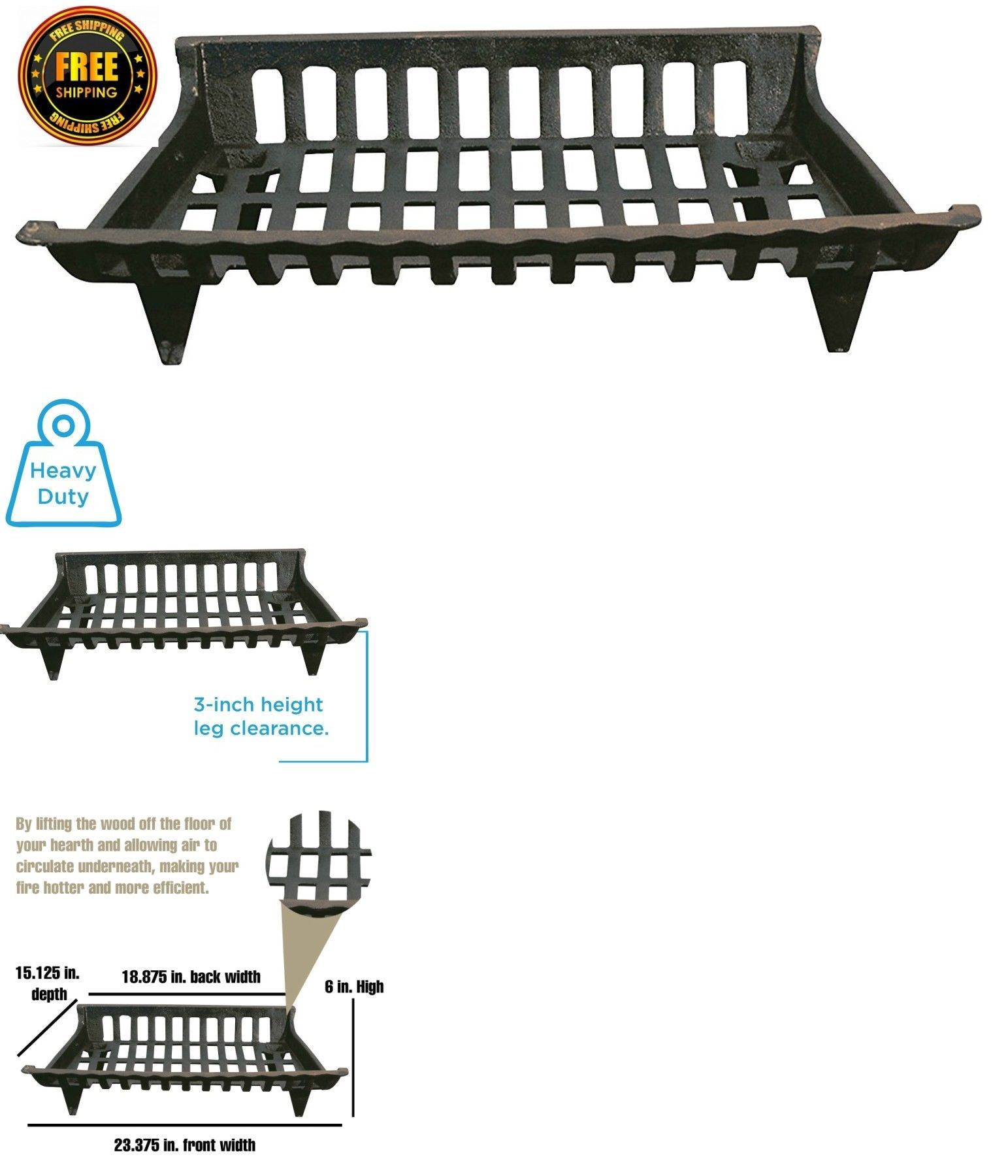 18 Inch Fireplace Grate Andirons Grates And Firedogs 79648 Iron Fireplace Grate Log Place