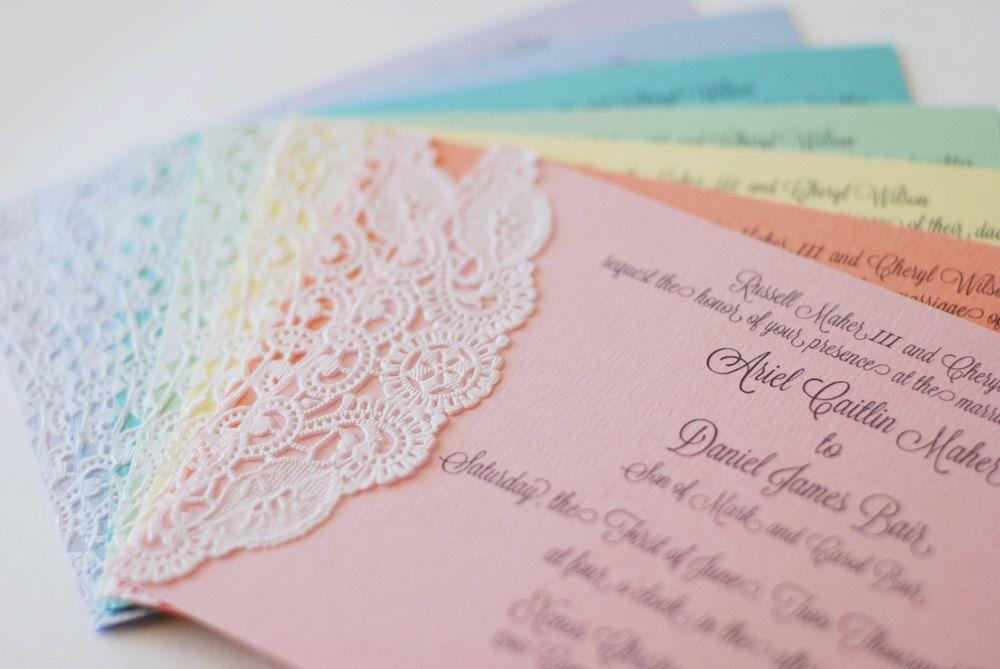 Custom Pastel and Lace Doily Invitations - Shabby Chic - Handmade ...