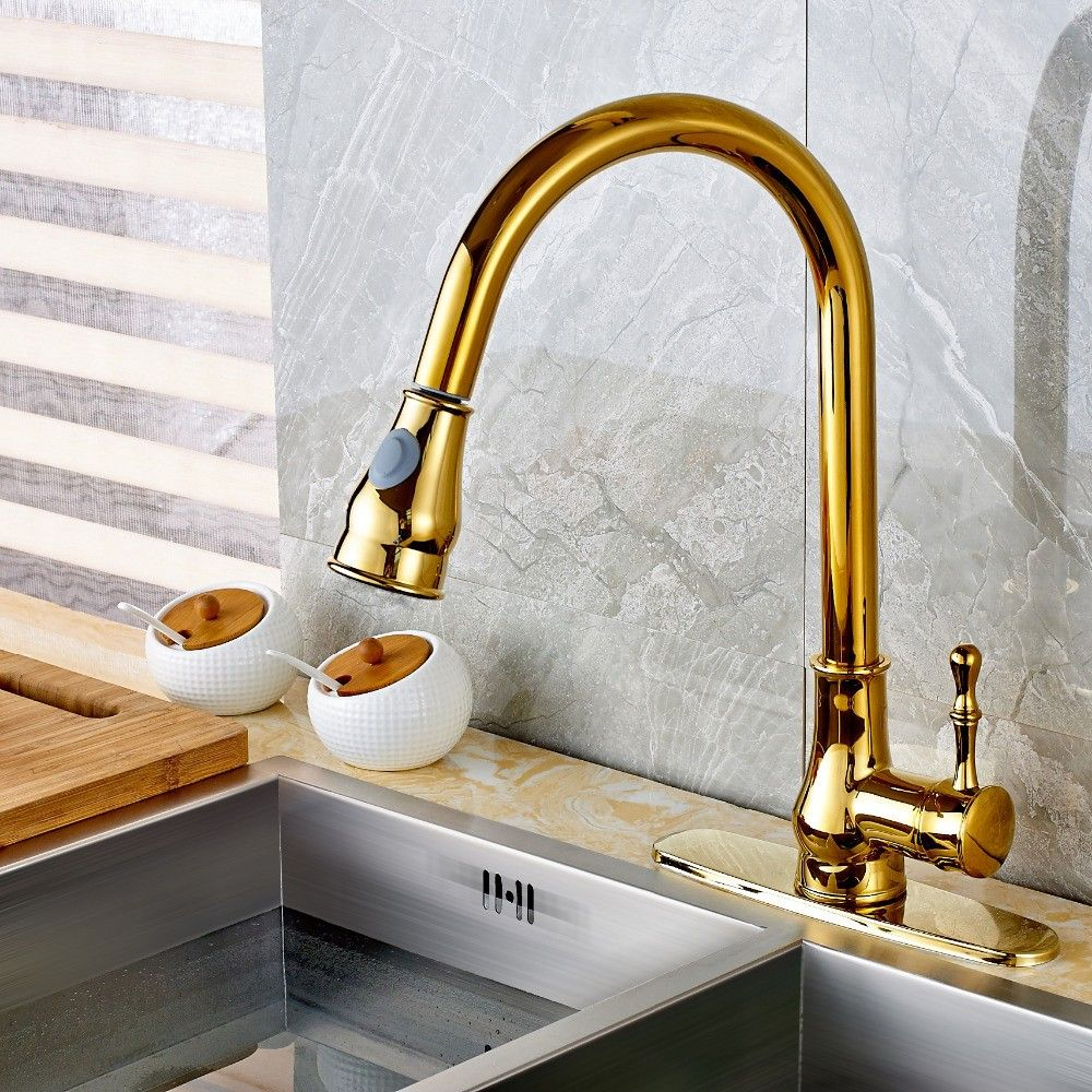 Twenk Golden Monobloc One Handle Solid Brass Pull Out Sprayer Swan
