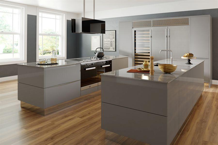 Atlantis Kitchens | Inspiration | Modern Kitchens | Handleless Gloss Grey  Kitchen   Slim Light Stone