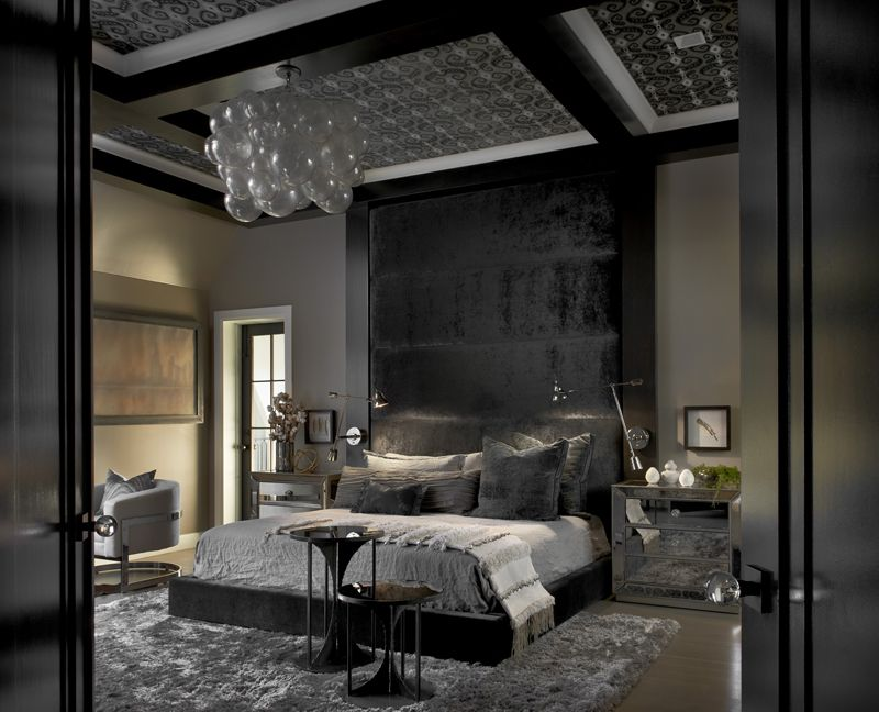 20 Gorgeous Bedrooms With Glass Night Stands Home Design Lover Black Bedroom Design Luxurious Bedrooms Bedroom Interior Black and white luxury bedroom