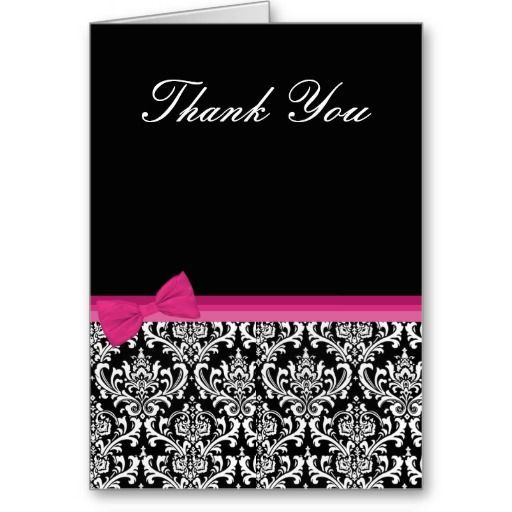 Pink Black Damask Thank You Card Thank You Greeting Cards