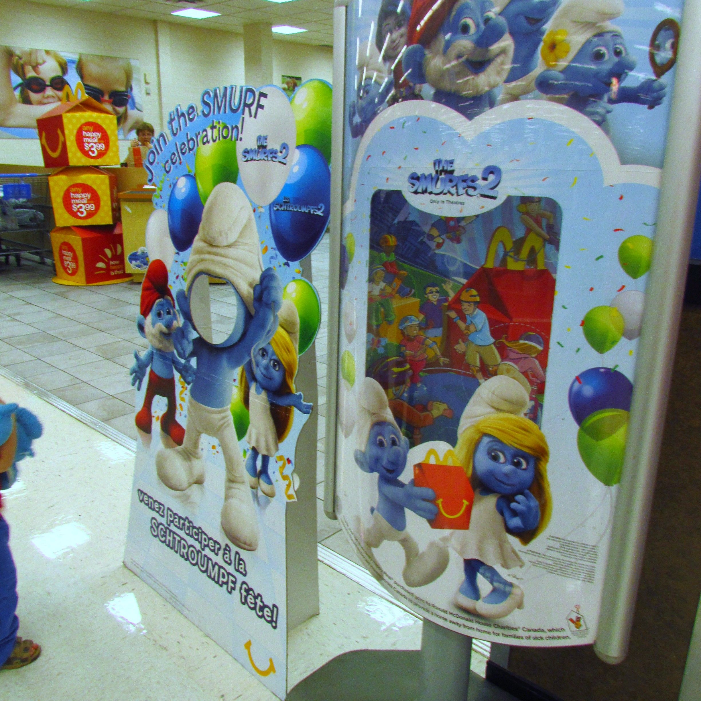 The Smurfs 2 movie Happy Meal toy display at McDonald\'s in Walmart ...