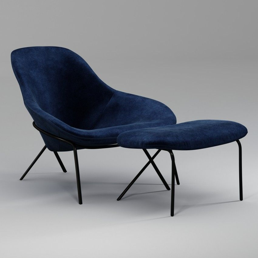 Cross leg lounge chair ottoman chair and ottoman