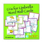 Umbrella/Weather word wall cards. There are perfect for my U is for Umbrella themed lesson plans! edlah.com