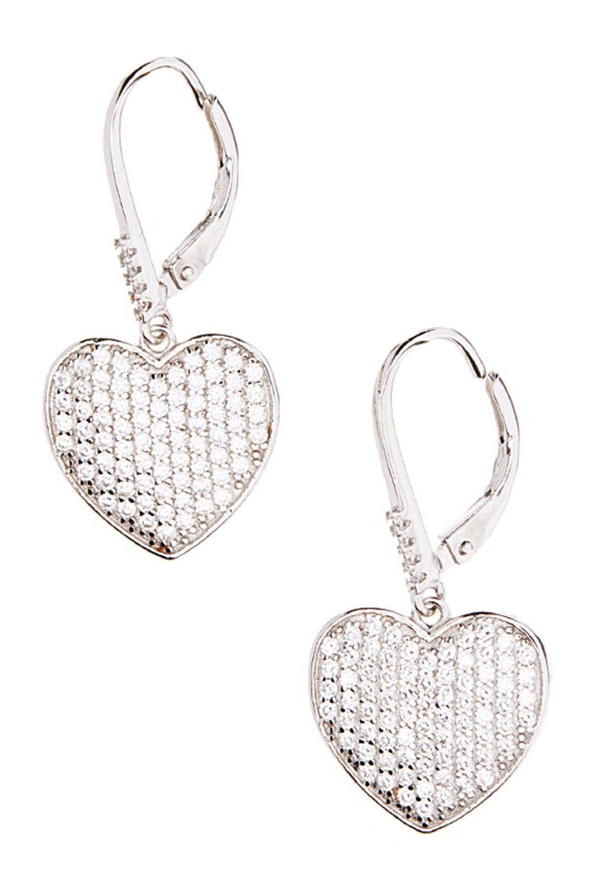 6126459f0a0a1 Best Silver Inc. Rhodium Plated Sterling Silver CZ Pave Heart Drop ...