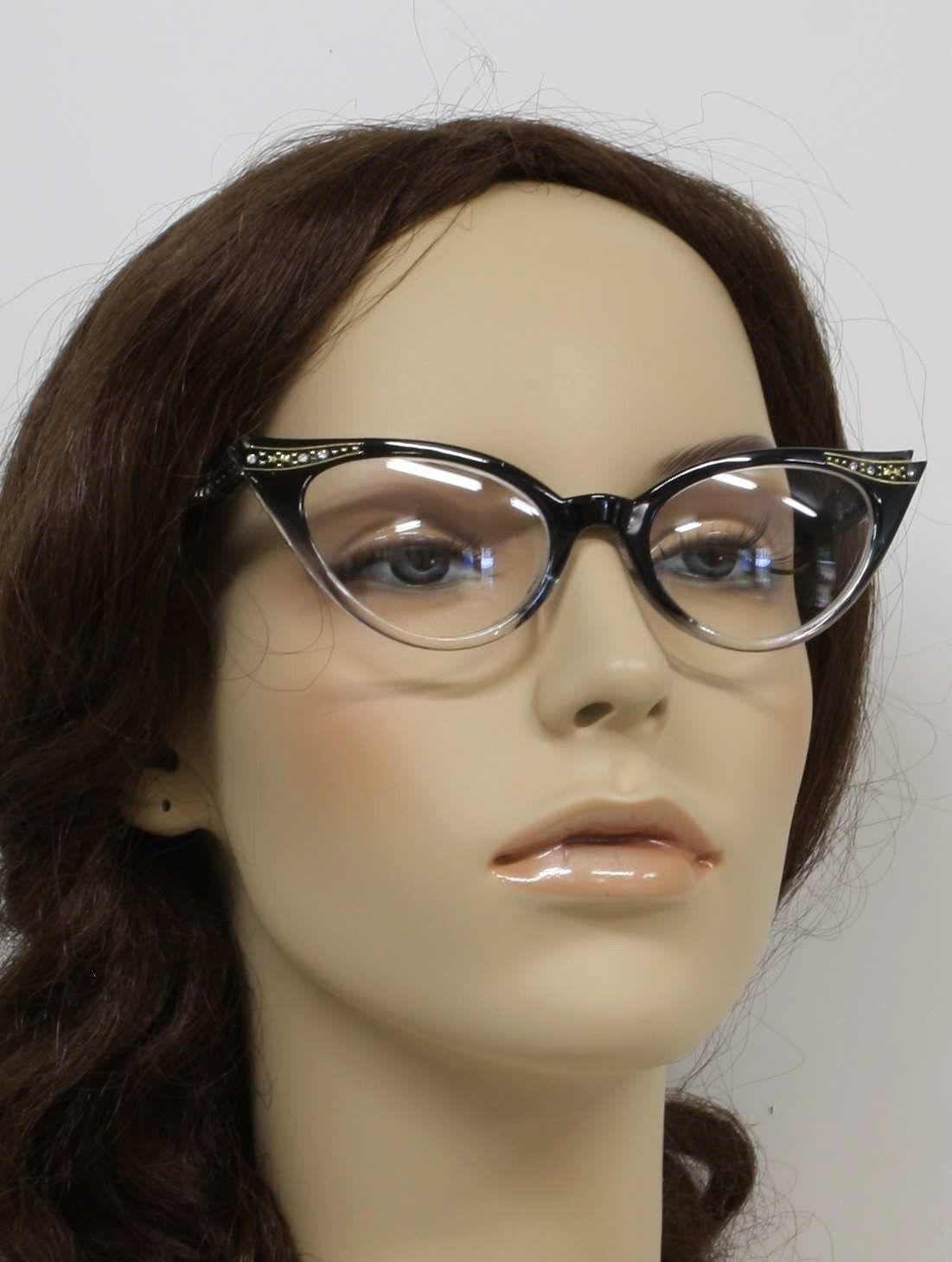 d5d7526fe1a 40s reproduction (made new) -Cat Eye Clear Lens Glasses- Womens black with  clear bottom non-prescription clear lens cat eye 40s style glasses with  small ...