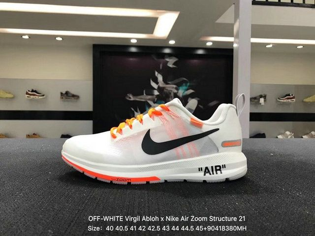 15b468f508d3 Off-White Virgil Abloh X Nike Air Zoom Structure 21 White Black Orange  907324-