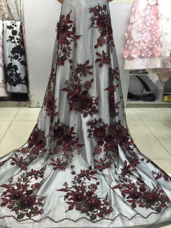 95ec6d67042e burgundy dark red heavy embroidered tulle lace fabric with 3D flower ...
