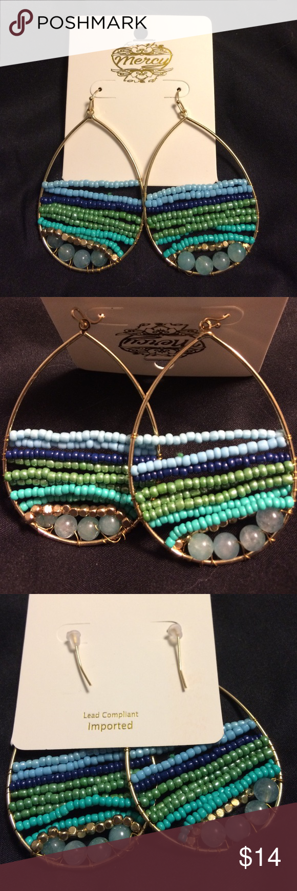 Mercy earrings. Brand new. Never worn. BRAND NEW beaded hoops. Only taken out of package to take a picture.  Never worn. Jewelry Earrings