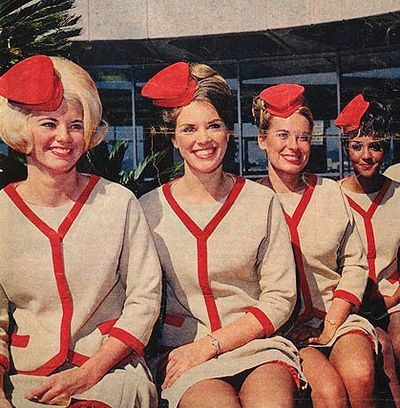 Ahhh - so cool! Vintage flight attendants! Just look at their hats!!!