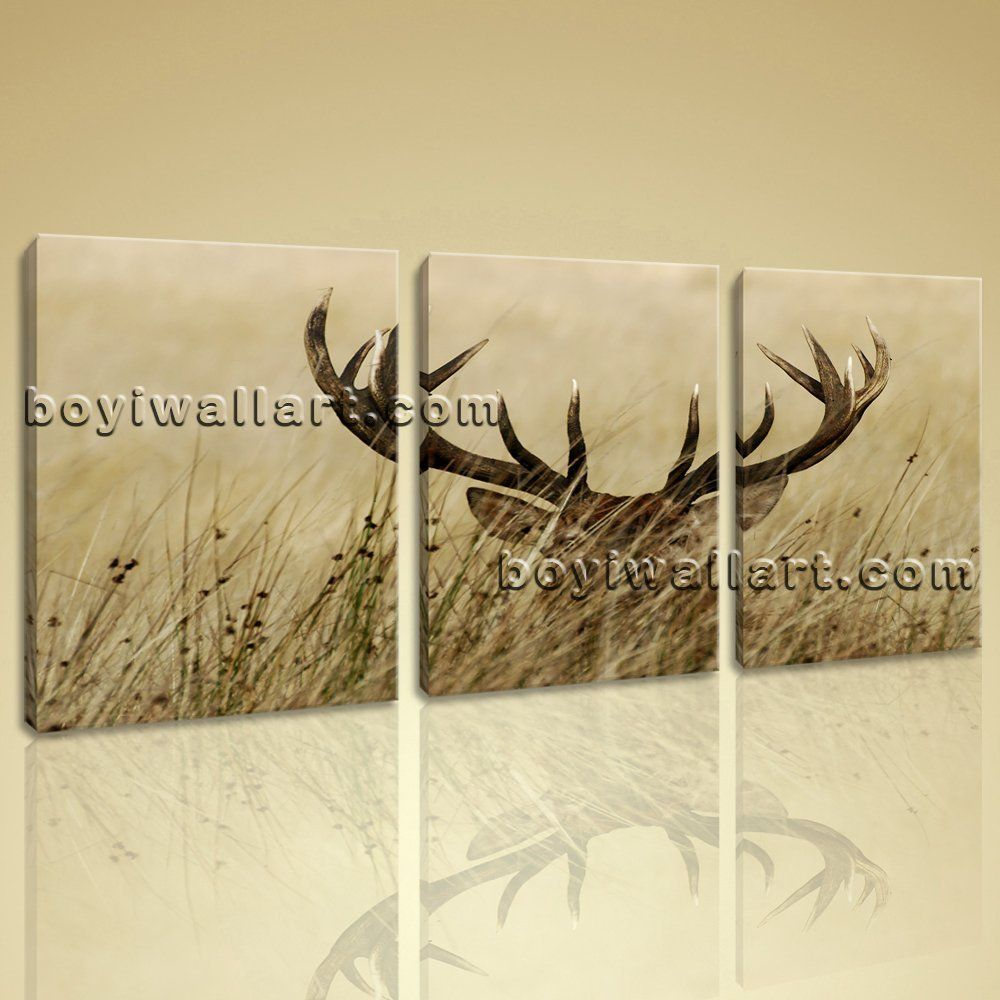 Large Mule Deer Animal Contemporary Painting Printed On Canvas ...