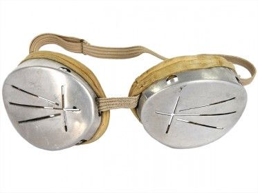 b5d341900d5 Hello Weird! Vintage Aluminum Military Steampunk Ski Goggles with ...