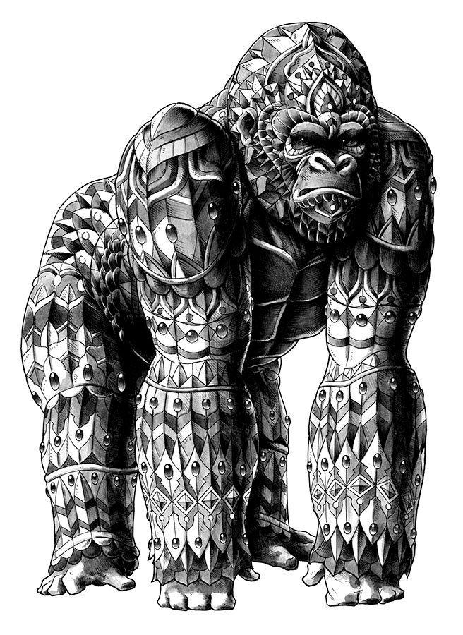 3dddc2339 Doodles Zentangles, Tribal Art, Big Gorilla, Female Gorilla, Illustrations,  Illustration