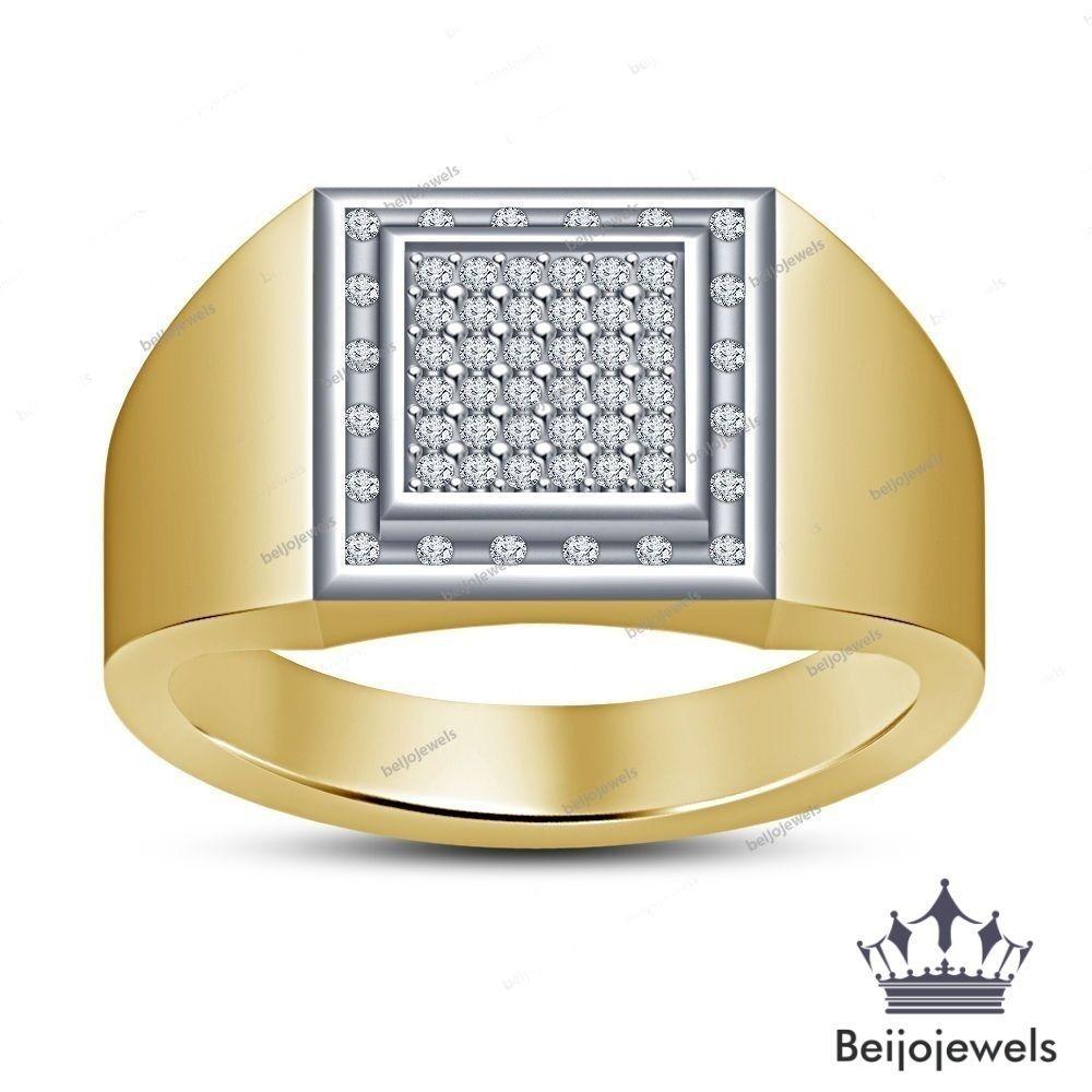 14k Yellow Gold Finish 2.00 Ct Round Cut Simulated Diamond Men/'s Wedding Rings