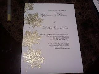 Gold Leaf Embossed Invites Love The Colors