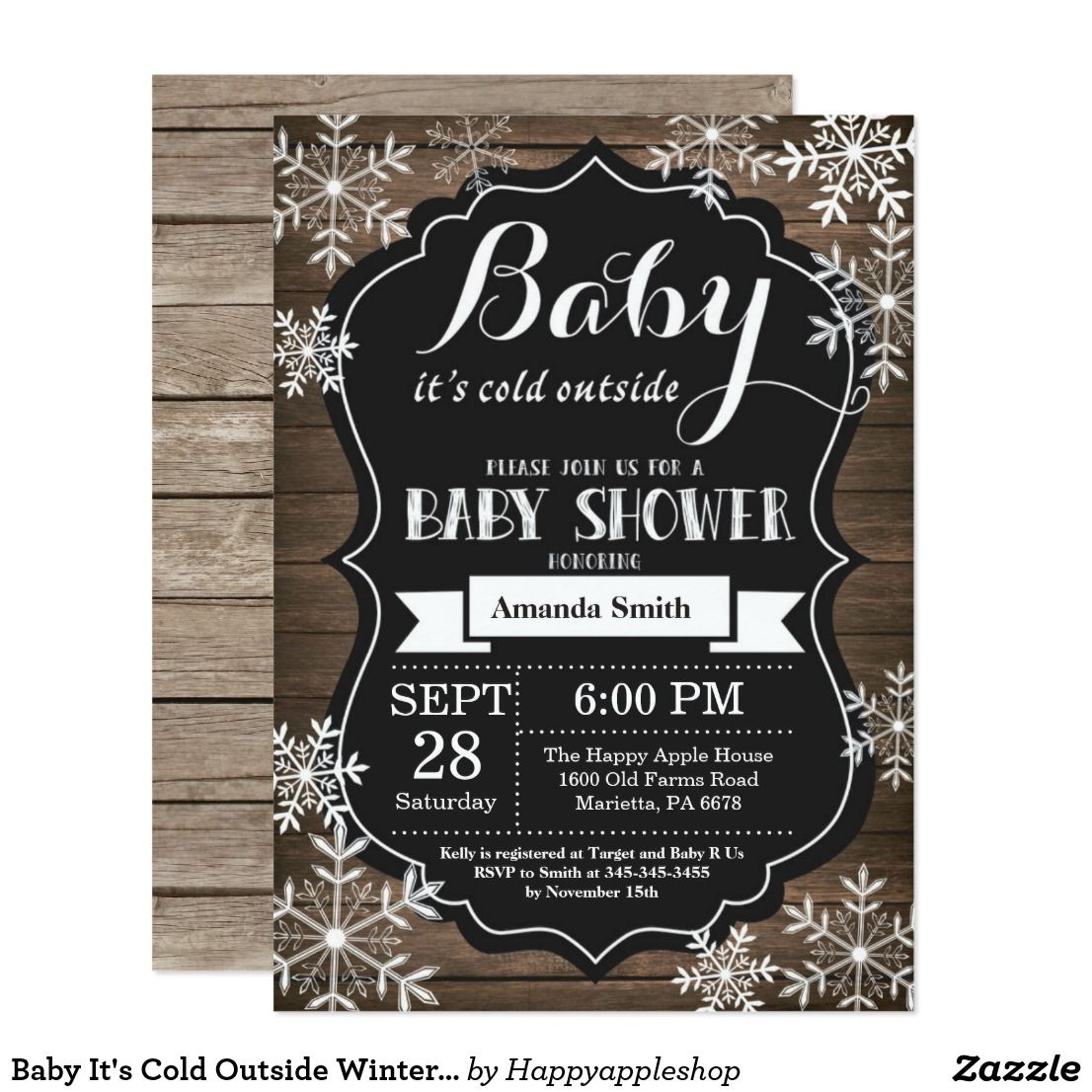 Baby It S Cold Outside Winter Baby Shower Card Baby It S Cold