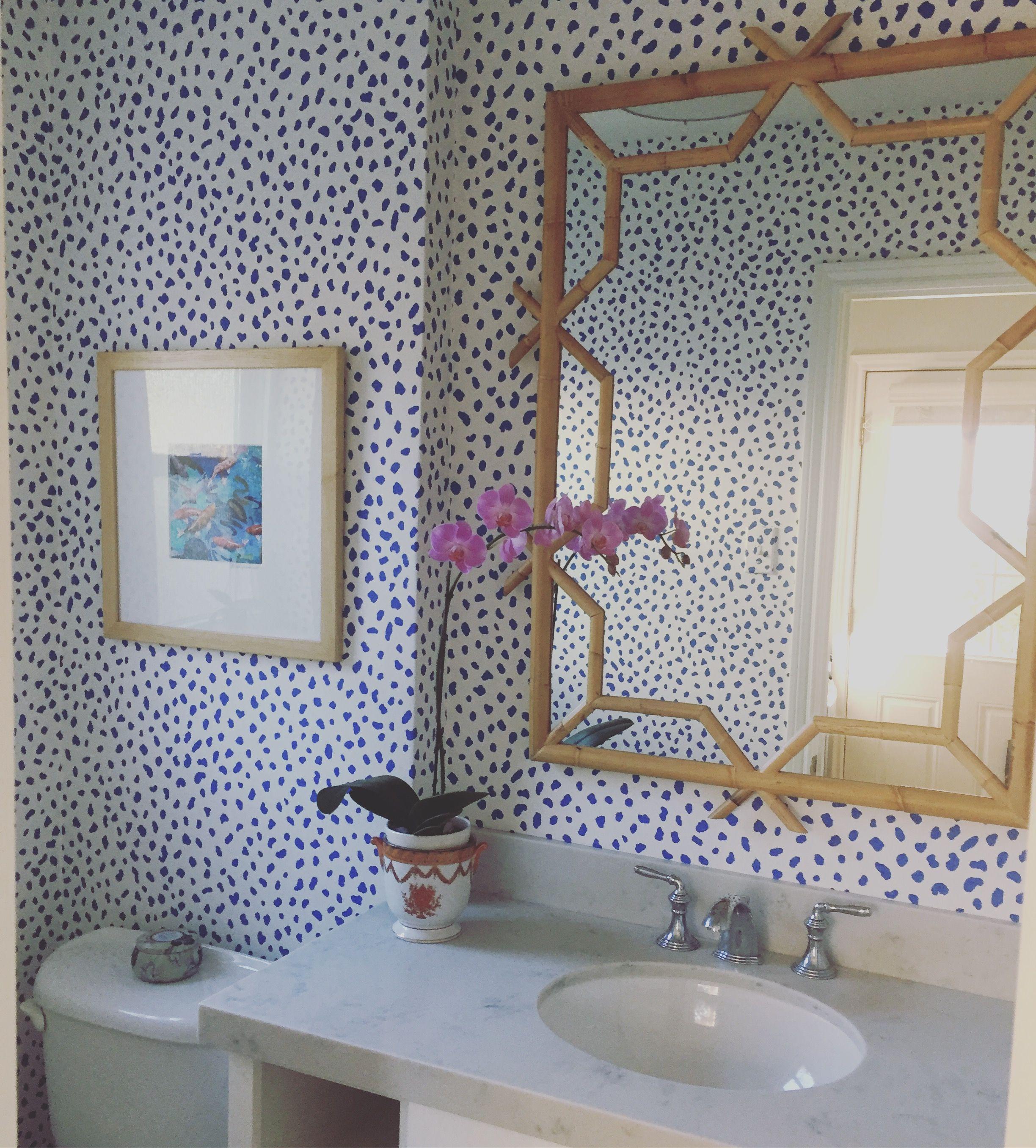 Navy Grasscloth Wallpaper And Gold Rivets Mirror: Thibaut Tanzania Wallpaper, Serena And Lily Mirror