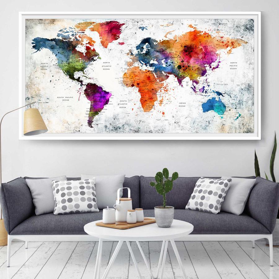 World map wall art world map poster decor painting watercolor art