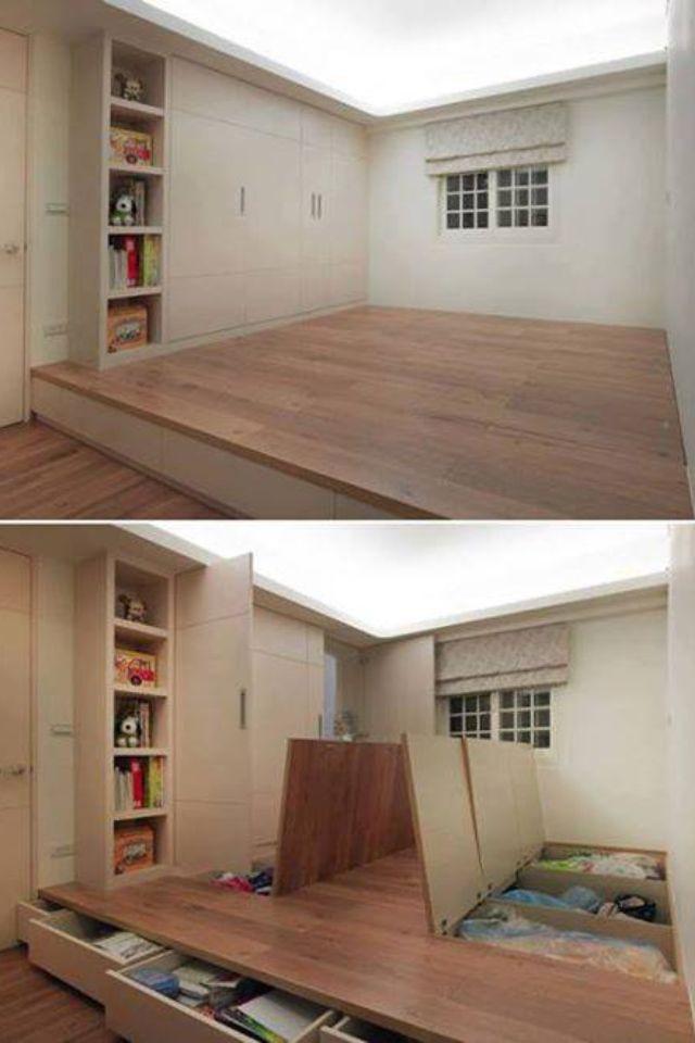 Rangement Sous Une Estrade Sous Sol Stockage Secret Maison Et Idee Rangement
