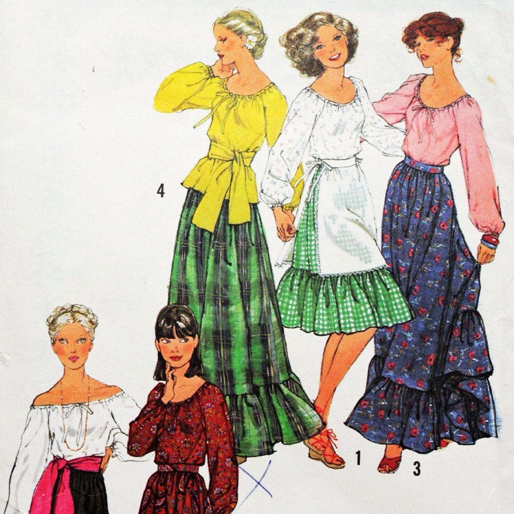 Vintage 70s Maxi Skirt Pattern / Ruffled Bohemian Prairie Skirt ...