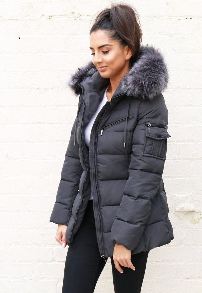 Grey Parka With Fur Hood