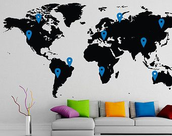 Custom order for natasha world map decal 48 x 108 vivid blue custom order for natasha world map decal x vivid blue the pins orange gumiabroncs Image collections