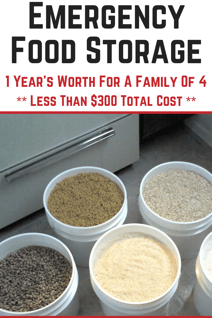 1 Year Emergency Food Storage For A Family Of 4 For Less Than 300 In 2020 Emergency Food Storage Emergency Food Food Storage