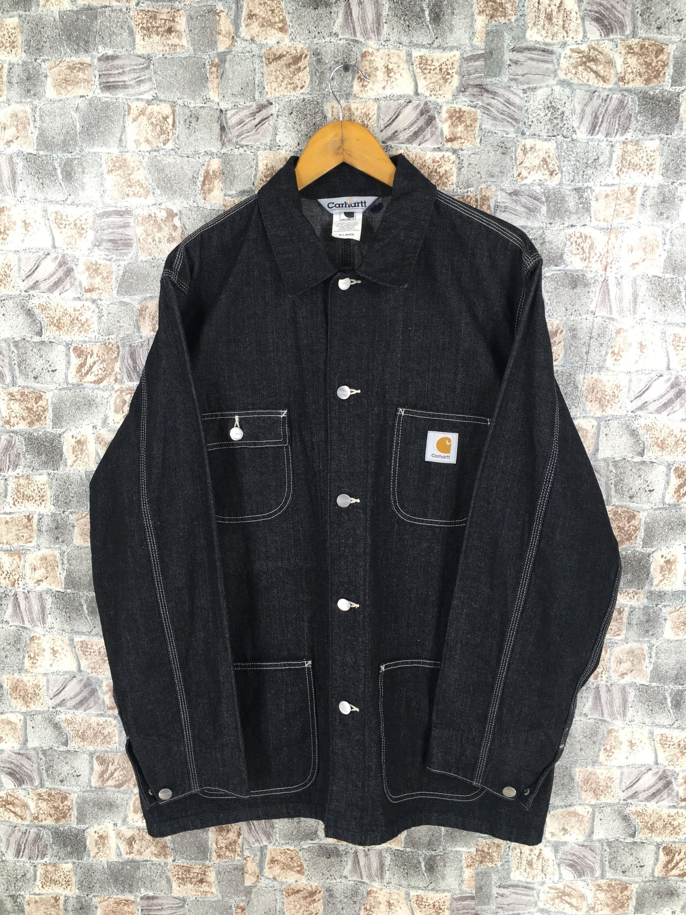 Excited To Share This Item From My Etsy Shop Vintage Carhartt Denim Jeans Jacket Black Xlarge Workwear Fo Vintage Denim Jacket Denim Jacket Men Safari Jacket [ 3000 x 2250 Pixel ]