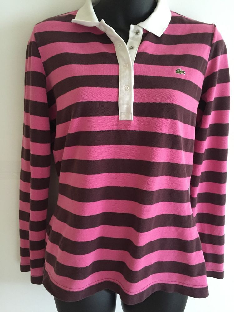 Lacoste Striped Pink Maroon Cotton Long Sleeve Polo Shirt