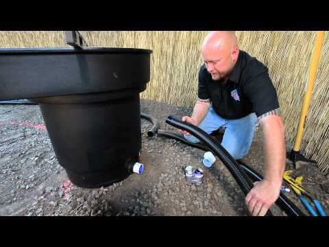 How to build a fish pond part 2 waterfall filter for Koi pond plumbing design