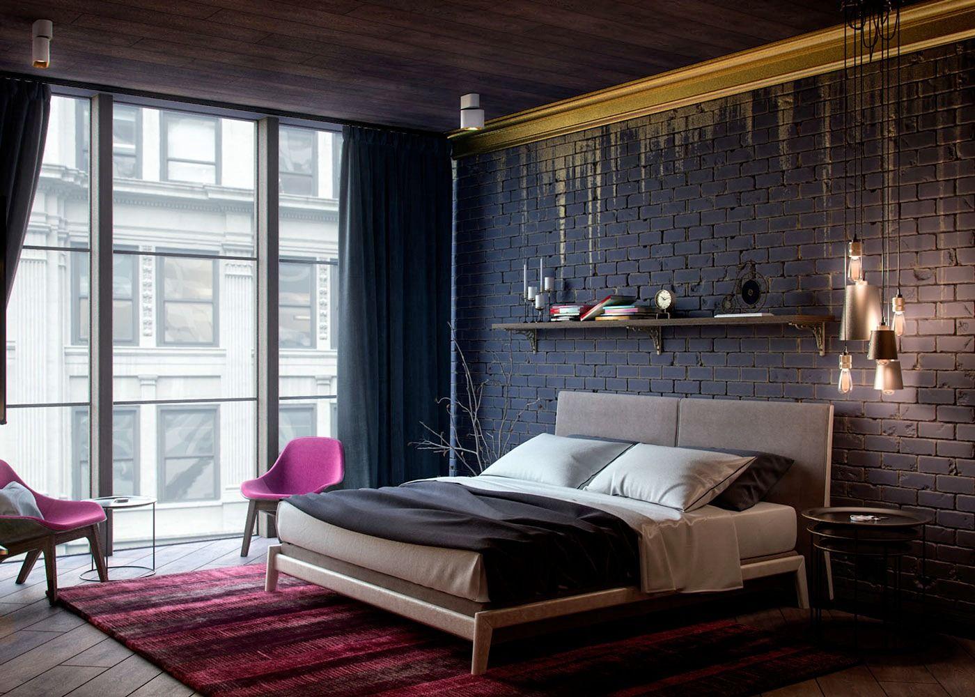 Chambre Moderne Avec Fauteuil Design Fuchsia, Tapis En Camaïeu De Rouge Et  Mur De Briques Noires Rehaussé Du0027une Coulée Or Sur La Moulure