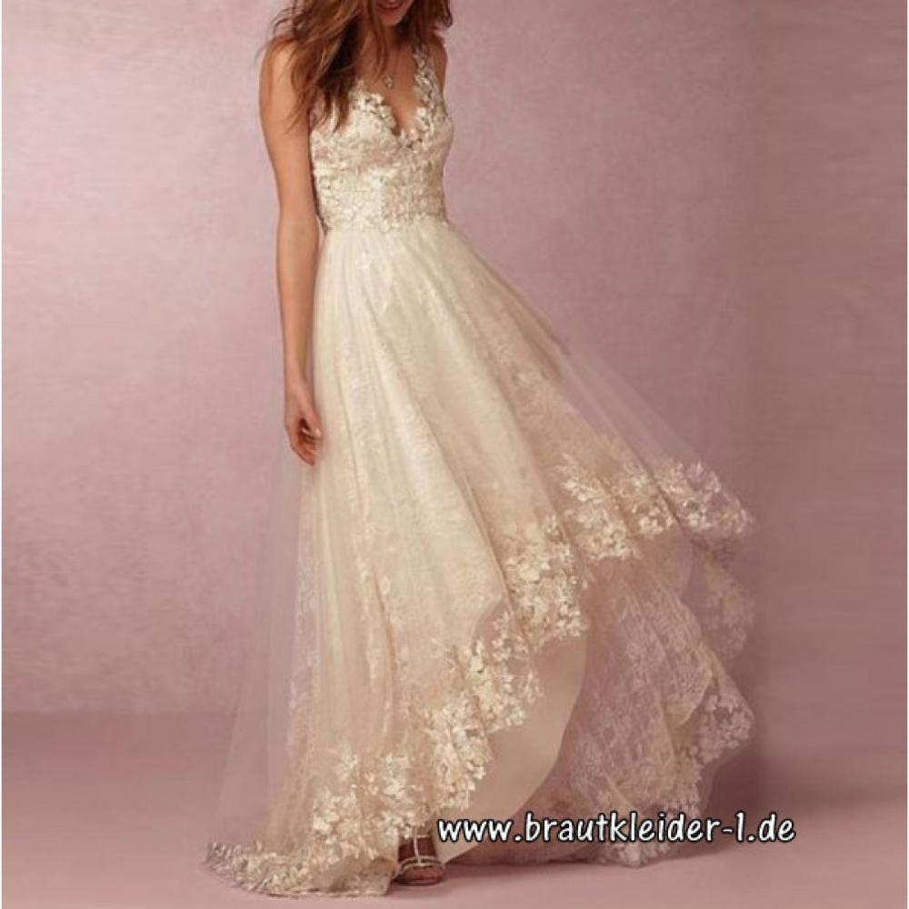 vokuhila standesamt kleid hochzeitskleid in weiß mit blumen