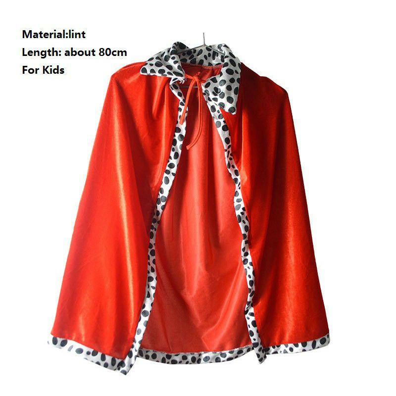 Party Cosplay costume Red Boy King Cosplay Cloak Cape Prince Crown Birthday