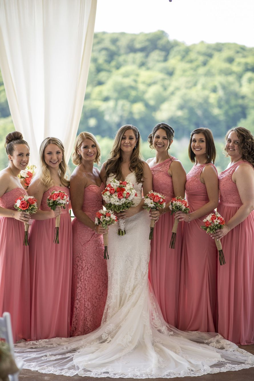 20e9d4a13fb Summer wedding. Coral bridesmaids dresses. David s bridal parfait ...