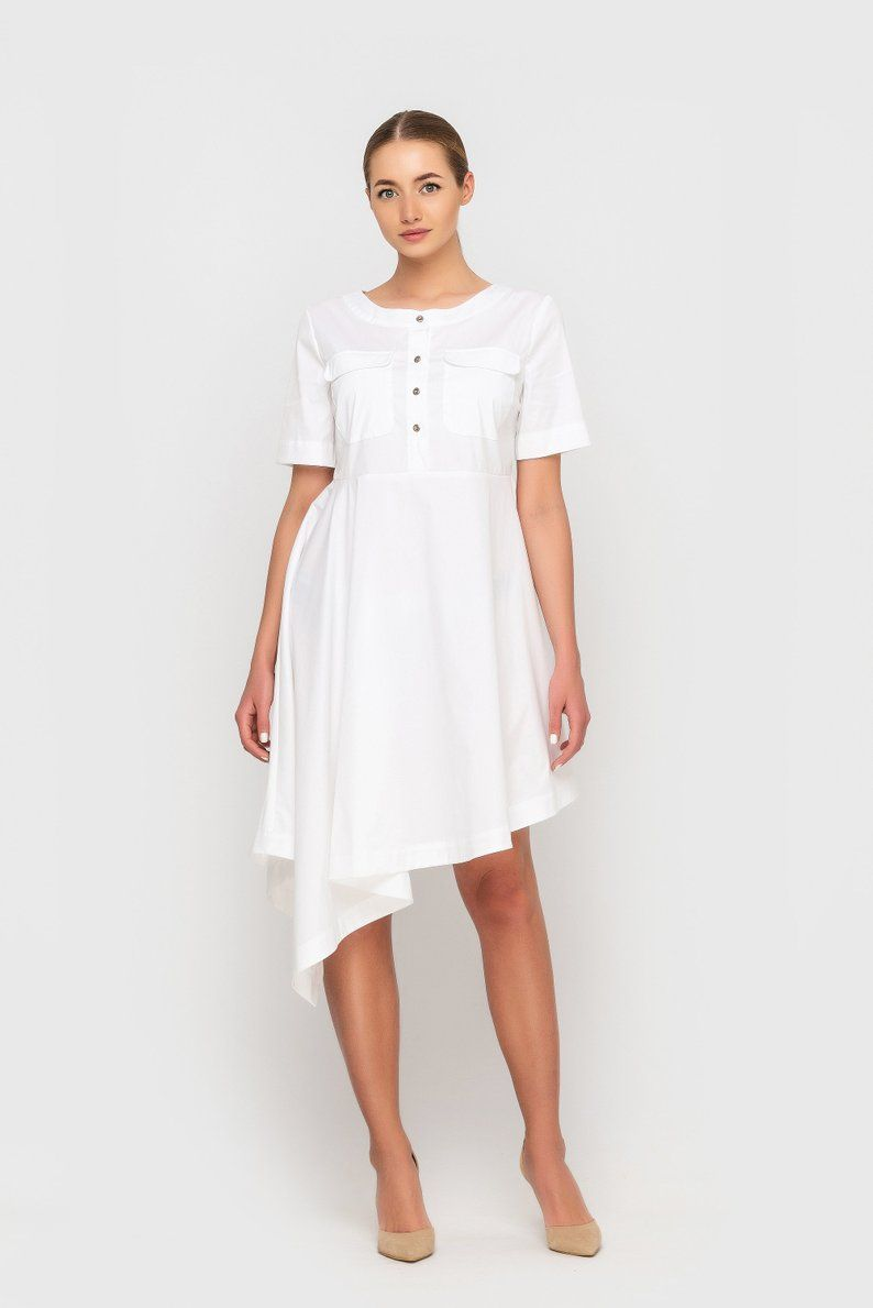 White Cotton Summer High Low Dress Asymmetrical Tunic Dresses Etsy Dresses Tunic Dress Cotton Shirt Dress [ 1189 x 794 Pixel ]