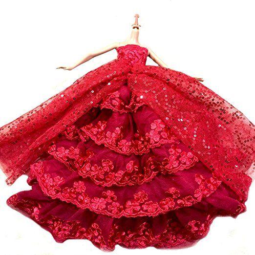 WayIn® Il più fantastico Abito Rosso con Paillettes Fatta su misura per la bambola Barbie