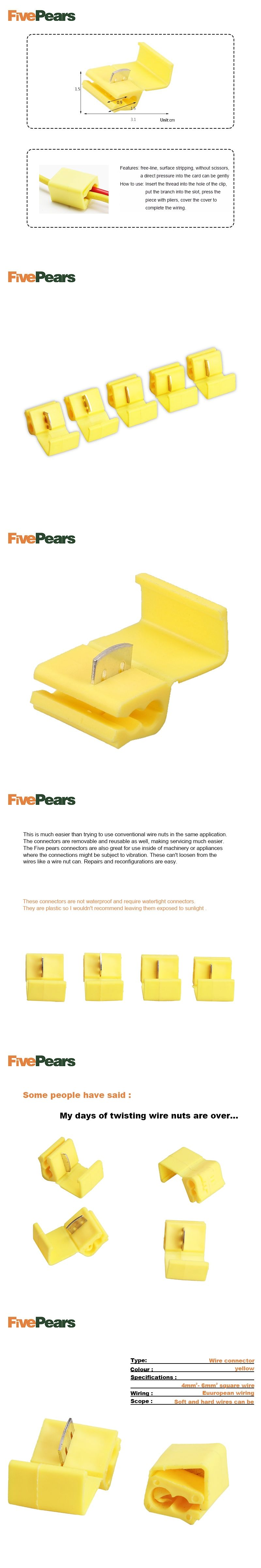 Free Shipping Fivepears 50pcs Yellow Scotch Lockauto Quick Lock Wiring Connector Splice Wire