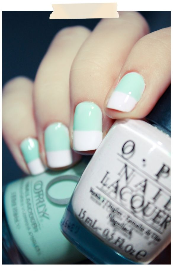 Mint + White nails