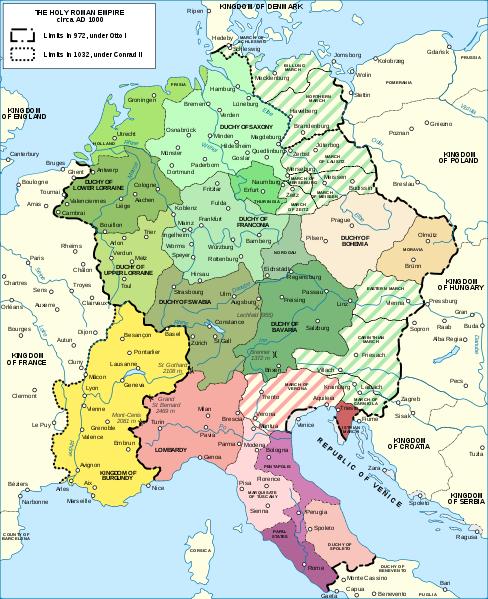 The Holy Roman Empire circa AD 1000 Ancient Europe