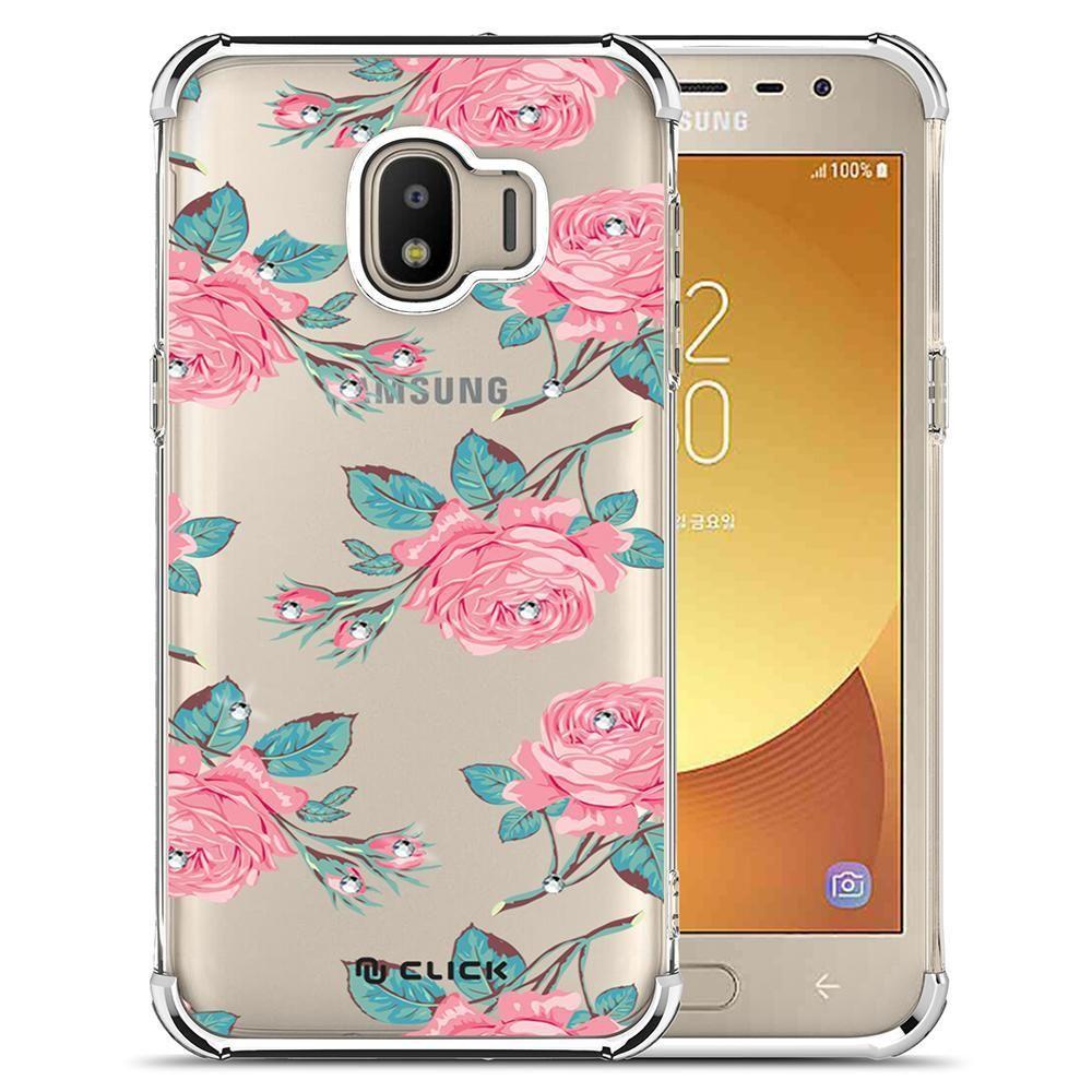 Samsung Galaxy J2 2019 Samsung Galaxy J2 2019 Click Elegant Series Slim Clear Flower Pattern With Pc Metal Samsung Galaxy Flower Pattern Design Pure Products