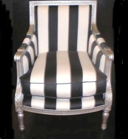 Louis XVI tub chair in silver with black and white fabric. Create yours www.hiddenmill.com