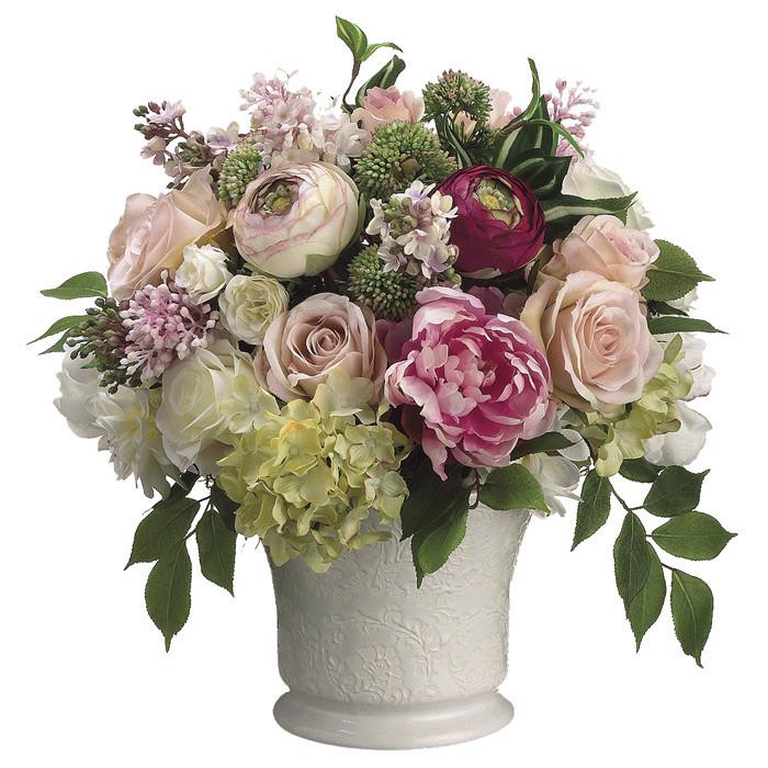 Faux Peony & Rose Arrangement