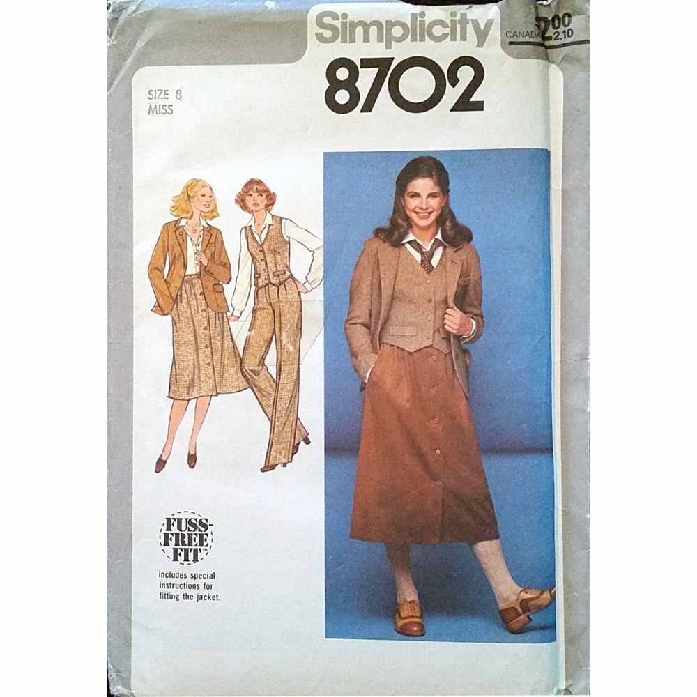 Misses Pants Skirt Jacket Vest Simplicity 8702 Pattern Vintage 1978 Size 8 c1138 #Simplicity