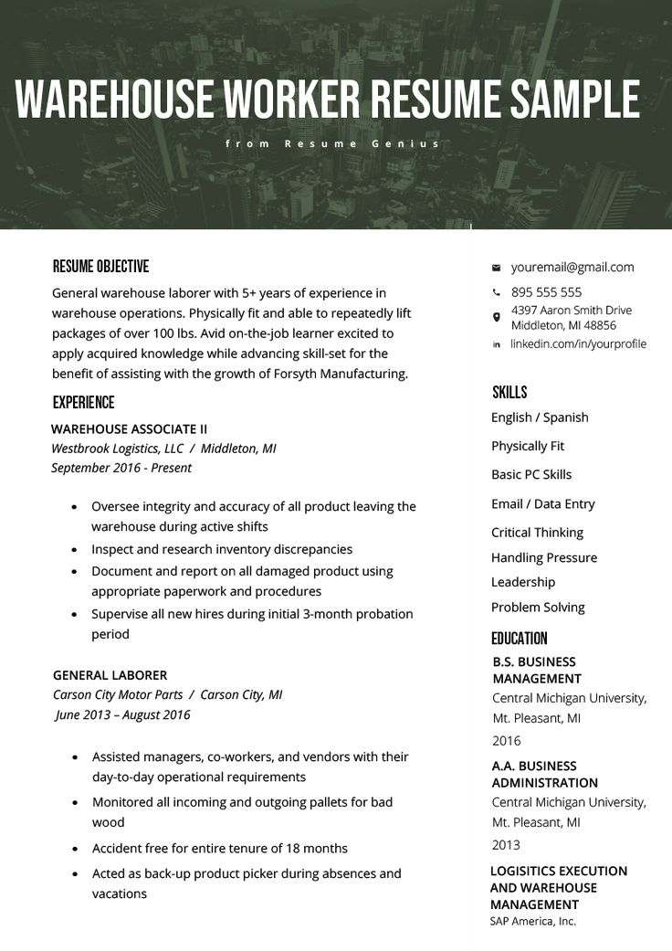 Warehouse Worker Resume Example & Writing Tips Resume