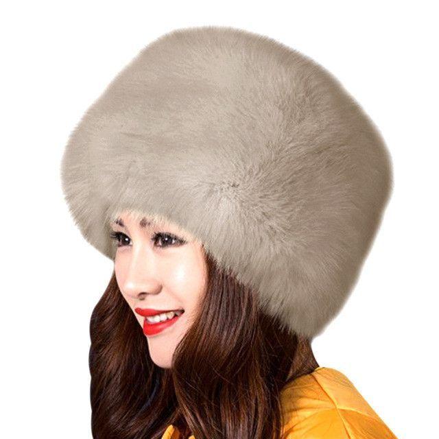 13a31801aa1 2017 New Fashion Winter Women Faux Fur Cap Fluffy Fox Fur Hats Headgear  Russian Outwear Girls Raccoon Fur Beanies Cap Fur Hat W0