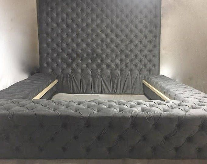 Velvet Tufted Platform Bed With Extra Tall Tufted Headboard Queen