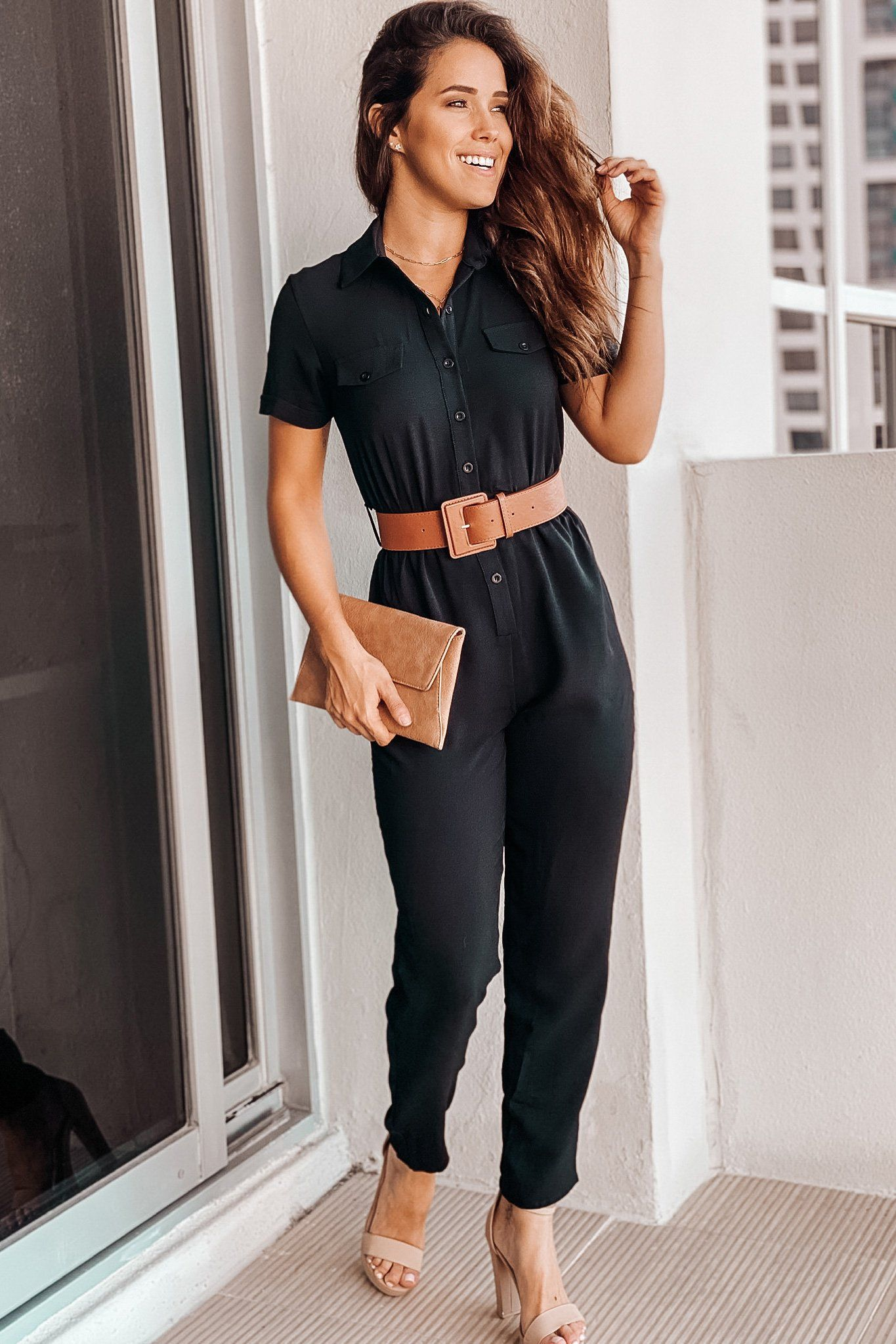 Black Button Down Jumpsuit With Belt Saved By The Dress Jumpsuit Casual Jumpsuit [ 2047 x 1365 Pixel ]