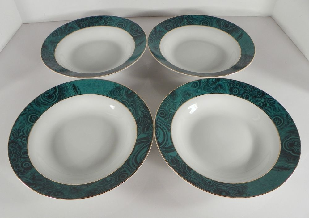 Gabbay MALACHITE Gold Trim Coupe Soup Bowl (s) LOT OF 4 Green Rim & Gabbay MALACHITE Gold Trim Coupe Soup Bowl (s) LOT OF 4 Green Rim ...
