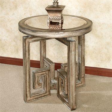 Mystras Greek Key Mirrored Top Side Table Wooden Side Table